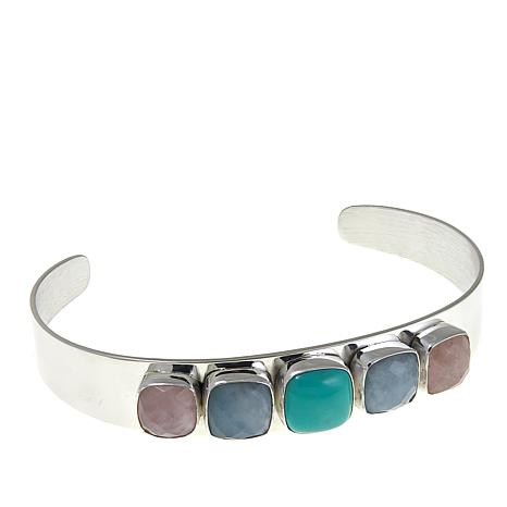 Jay King Aquamarine, Turquoise and Morganite Cuff Bracelet