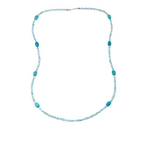 "Jay King Aragonite and Turquoise Bead 36"" Sterling Silver Necklace"