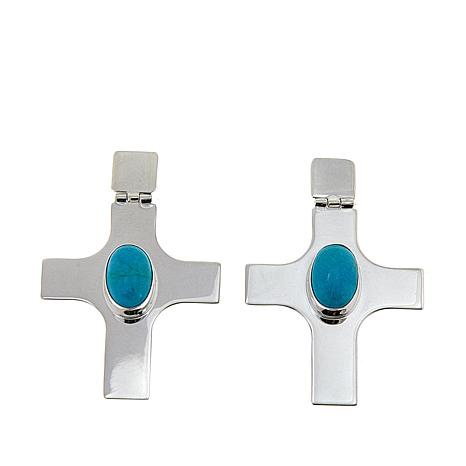 Jay King Azure Peaks Turquoise Cross Sterling Silver Drop Earrings