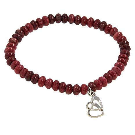 Jay King Beaded Gemstone Heart Charm Drop Stretch Bracelet