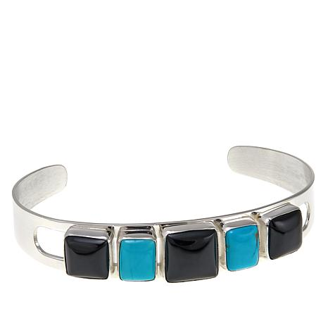 Jay King Black Agate and Turquoise Sterling Silver Cuff Bracelet
