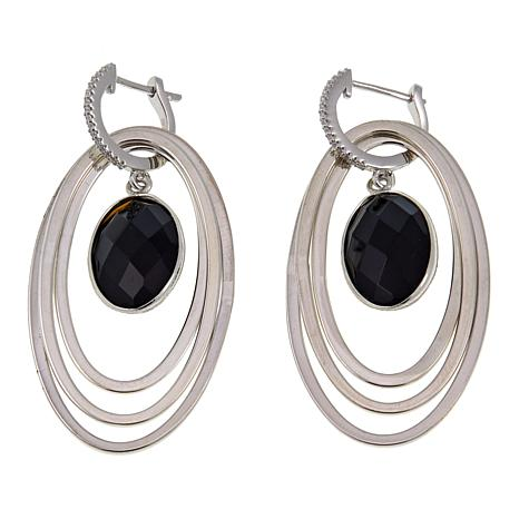 Jay King Black Agate Sterling Silver Drop Earrings