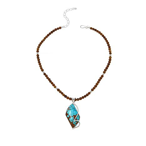 "Jay King Blue and Brown Turquoise Pendant with 18"" Beaded Necklace"