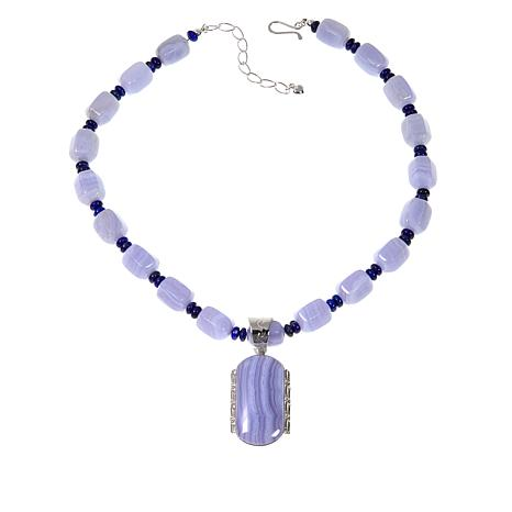 Jay King Blue Lace Agate Sterling Silver Pendant with Beaded Necklace