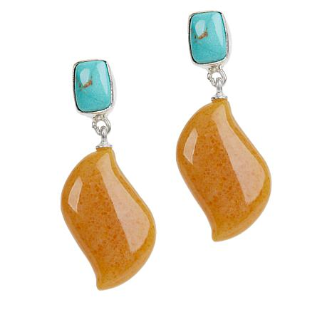 Jay King Butterscotch Amber and Azure Peaks Turquoise Earrings