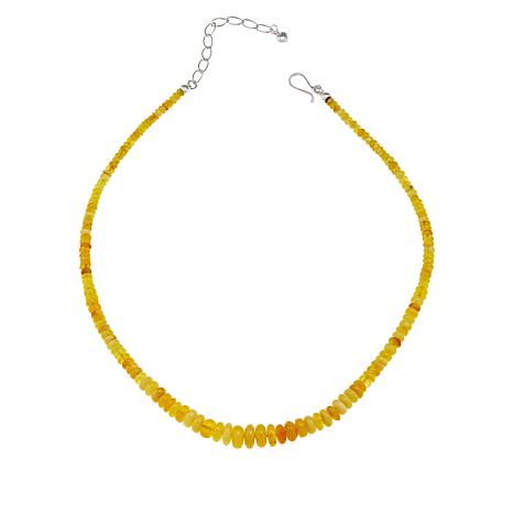 """Jay King Butterscotch Amber Bead 18"""" Sterling Silver Necklace"""