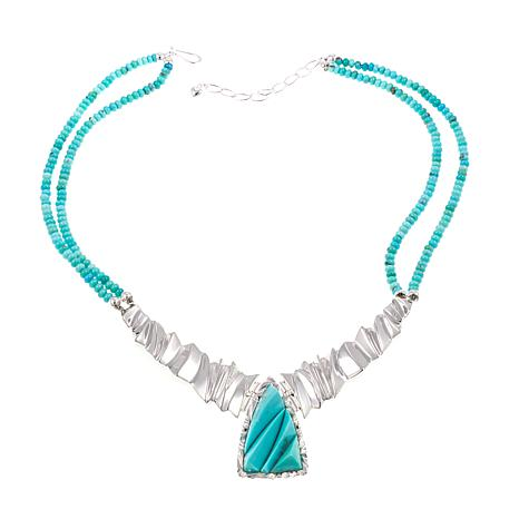 "Jay King Campitos Turquoise 18"" Sterling Silver Necklace"