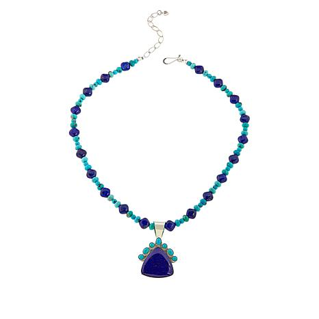 Jay King Campitos Turquoise and Lapis Pendant with Beaded Necklace