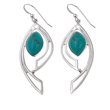 Jay King Campitos Turquoise Feather Drop Earrings