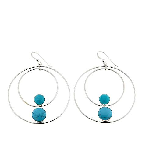 Jay King Campitos Turquoise Hoop Drop Sterling Silver Earrings