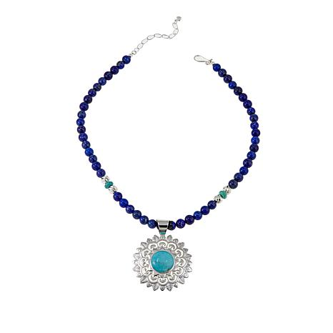 "Jay King Campitos Turquoise Pendant with 18"" Lapis Bead Necklace"