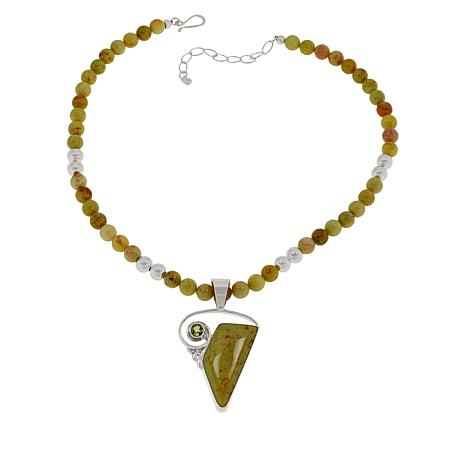 """Jay King Chalcedony-Opal and Peridot Pendant with 18"""" Beaded Necklace"""