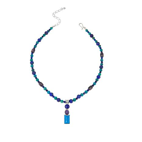 "Jay King Charoite, Lapis and Turquoise Pendant with 18"" Necklace"