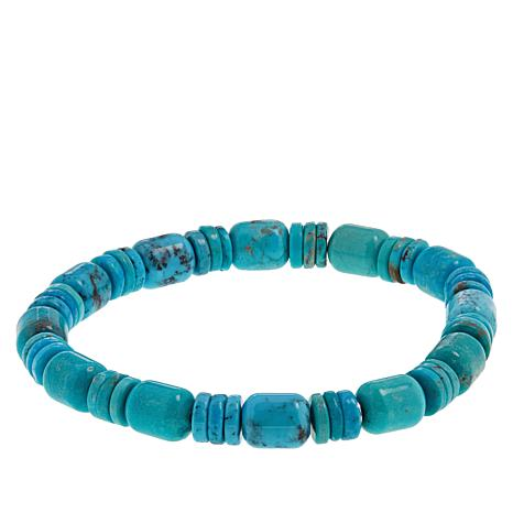 Jay King Cloudy Mountain Turquoise Beaded Stretch Bracelet