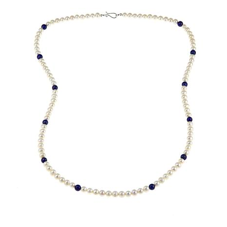 """Jay King Cultured Freshwater Pearl and Lapis 36"""" Necklace"""