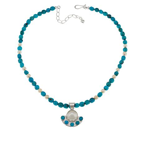 Jay King  Cultured Mabé Pearl and Turquoise Pendant with  Necklace