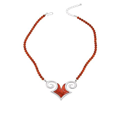 """Jay King Gallery Collection 21"""" Sterling Silver Orange Coral Necklace"""