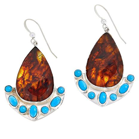 Jay King Gallery Collection Amber and Turquoise Drop Earrings