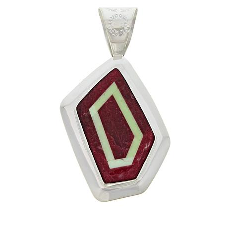 Jay King Gallery Collection Thulite and Meadow Stone Geometric Pendant