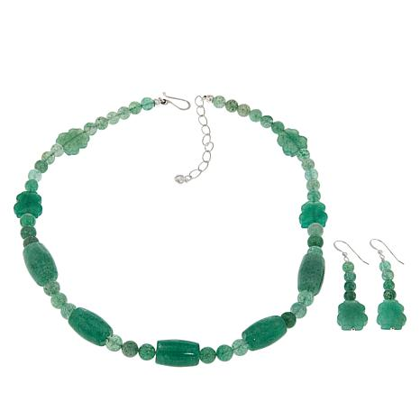 Jay King Green Aventurine Bead Necklace and Earrings Set