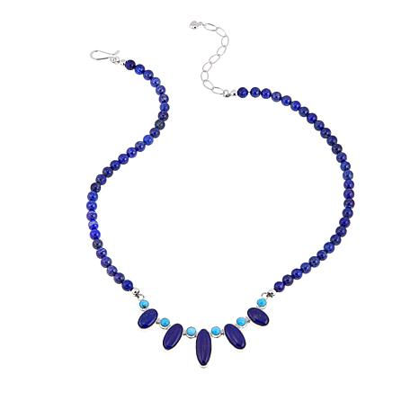 "Jay King Lapis and Andean Blue Turquoise 17-1/2"" Necklace"