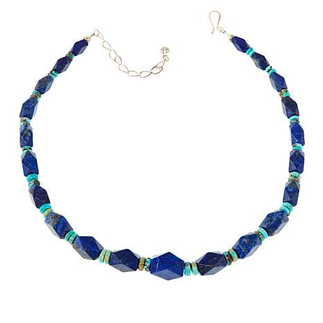 """Jay King Lapis and Turquoise Bead 18-1/2"""" Necklace"""