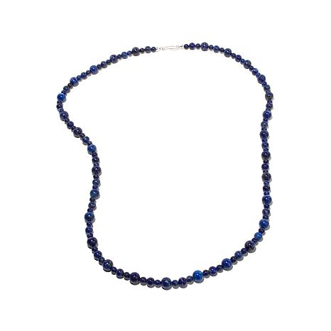 "Jay King Lapis Bead 36"" Sterling Silver Necklace"