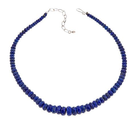 """Jay King Lapis Faceted Bead 18"""" Sterling Silver Necklace"""