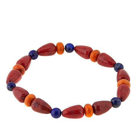 Jay King Lapis, Red and Orange Coral Stretch Bracelet