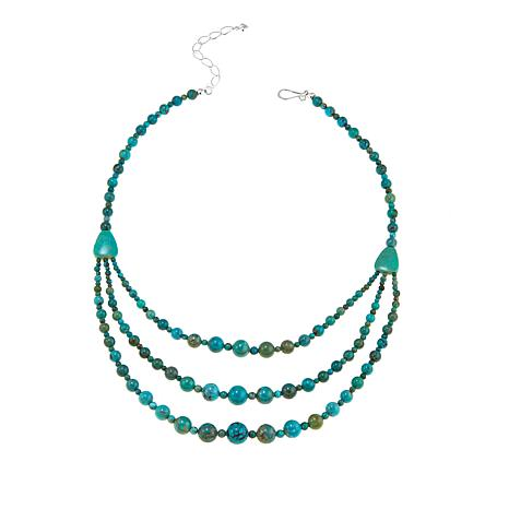 """Jay King Layered Turquoise Bead 18"""" Sterling Silver Necklace"""