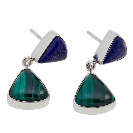 Jay King Malachite and Lapis Drop Sterling Silver Earrings