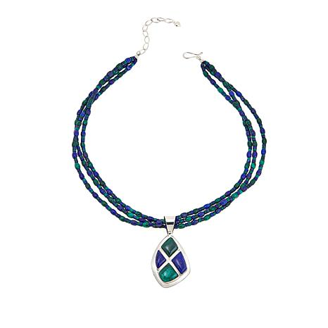 "Jay King Malachite and Lapis Pendant with 18"" Bead Necklace"