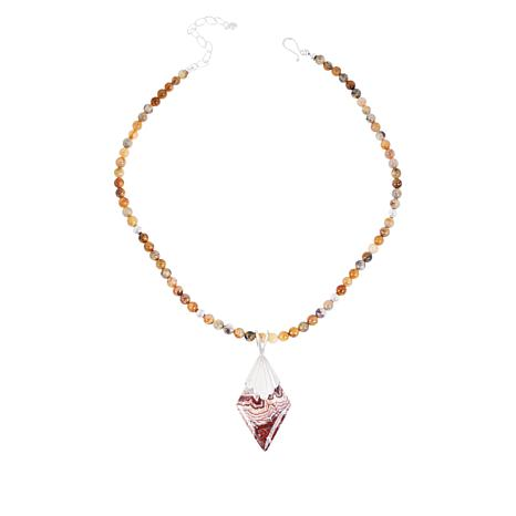 Jay King Mexican Crazy Lace Agate Pendant with Beaded Necklace