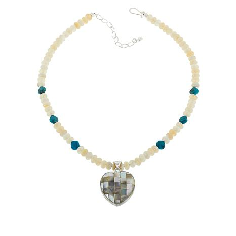 Jay King Multi-Gemstone Inlay Reversible Heart Pendant and Necklace