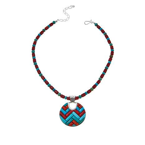 """Jay King Multi-Turquoise and Coral Pendant with 18"""" Necklace"""