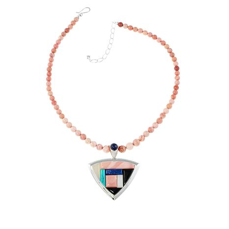 Jay King Multigem Inlay Pendant with Pink Opal Necklace
