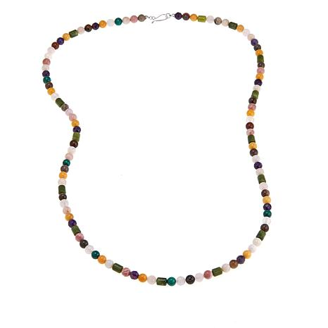 "Jay King Multigemstone Bead 36"" Sterling Silver Necklace"
