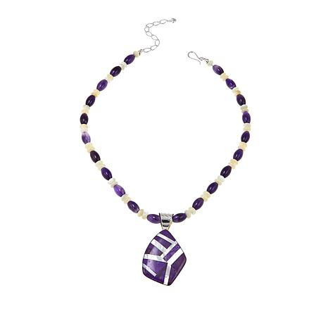 Jay King Multigemstone Sterling Silver Pendant and Beaded Necklace