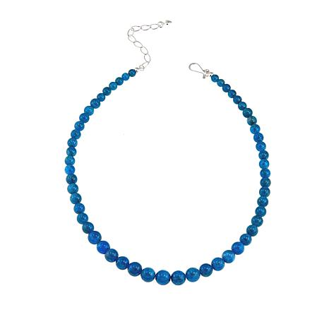 "Jay King Neon Blue Apatite Bead 18"" Sterling Silver Necklace"