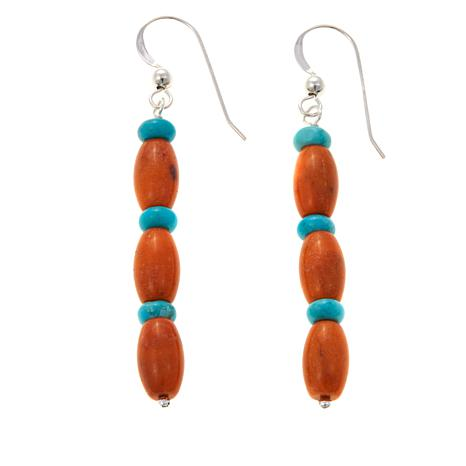 Jay King Orange Coral and Turquoise Earrings