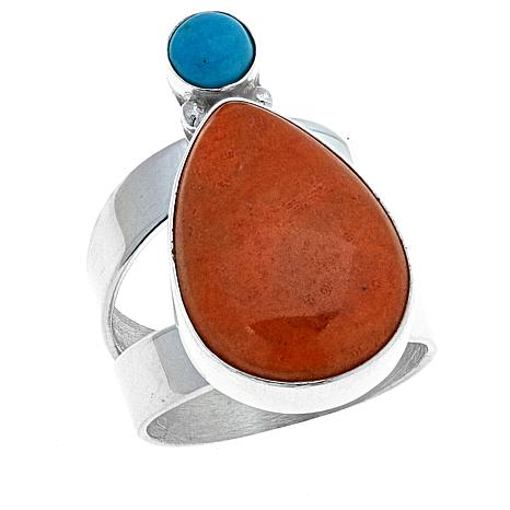 Jay King Orange Coral and Turquoise Sterling Silver Ring