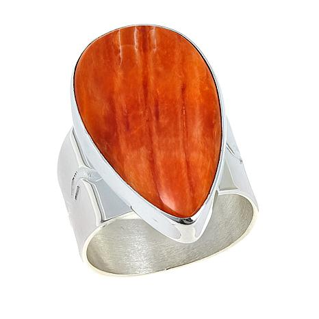 Jay King Orange Spiney Oyster Pear-Shaped Cabochon Ring
