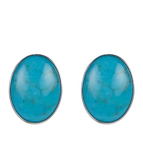 Jay King Oval Azure Peaks Turquoise Sterling Silver Stud Earrings