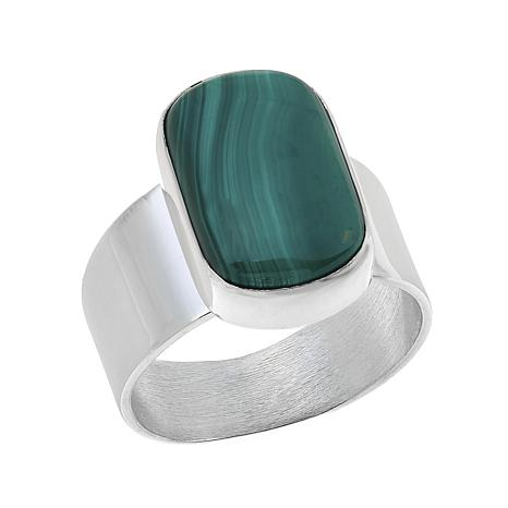 Jay King Oval Malachite Cabochon Sterling Silver Ring