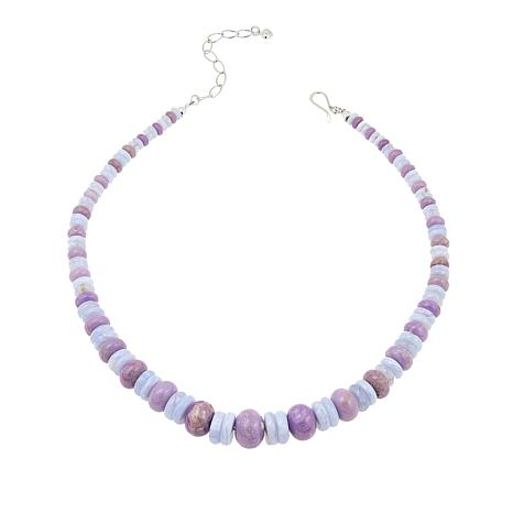 """Jay King Phosphosiderite and Blue Lace Agate Bead 18"""" Necklace"""