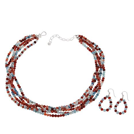 Jay King Picante Agate and Aquamarine Bead Necklace and Earrings Set