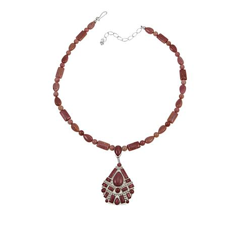"""Jay King Pink Ginger Flower Stone 18"""" Sterling Silver Necklace"""