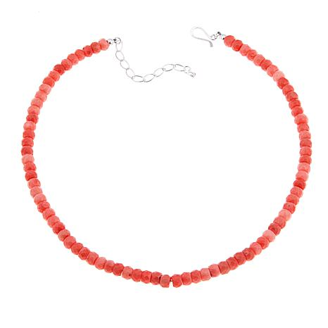 "Jay King Pink Sea Bamboo Coral Bead 18"" Sterling Silver Necklace"