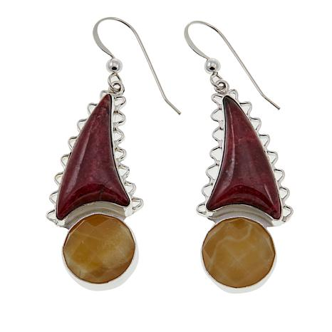 Jay King Pink Thulite and Yellow Opal Drop Sterling Silver Earrings