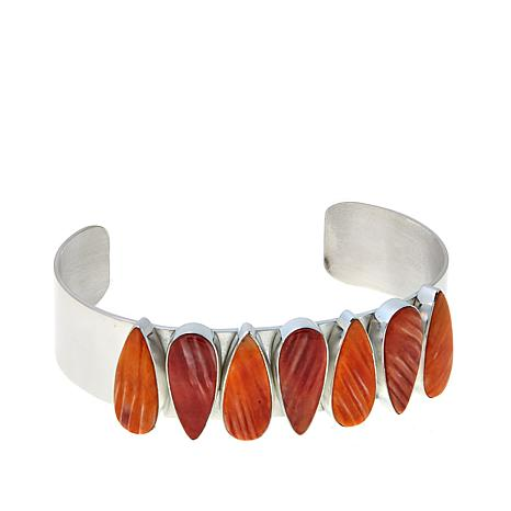 Jay King Red and Orange Spiny Oyster Shell Cuff Bracelet